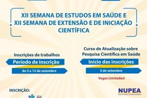 NUPEA lança a XII Semana de Estudos em Saúde e a XII Semana de Extensão e de Iniciação Científica.