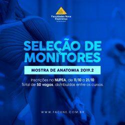 Faculdades Nova Esperança abrem inscrições para as vagas de monitores da Mostra de Anatomia 2019.2.