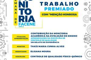 """TRABALHO PREMIADO COM """"MENÇÃO HONROSA"""" – SEMANA DA MONITORIA"""