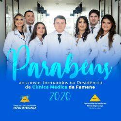 Programa de residência em clínica médica celebra a formatura de sua turma de 2020.