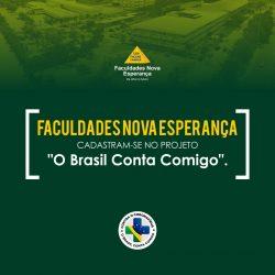 """Faculdades Nova Esperança aderem ao Projeto """"O Brasil Conta Comigo"""" voltado para cadastro e capacitação de alunos da área da saúde durante a Pandemia."""