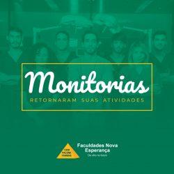 FACULDADES NOVA ESPERANÇA COMUNICAM O RETORNO DAS MONITORIAS