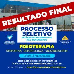 NUPEA DIVULGA RESULTADO FINAL DO PROCESSO SELETIVO PARA AS VAGAS REMANESCENTES DO ESTÁGIO EXTRACURRICULAR DE FISIOTERAPIA 2021